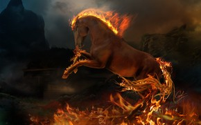 3D burning horse wallpaper