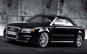 Audi RS 4 Cabriolet Black Front And Side 2008 wallpaper