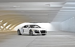 Audi R8 White front and side wallpaper