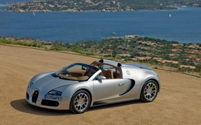 Bugatti Veyron 16.4 Grand Sport 2010 in Sardinia - Front And Side Panorama wallpaper