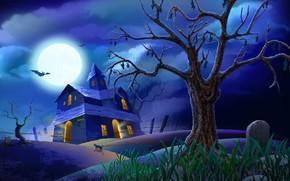 Blue Halloween Night wallpaper