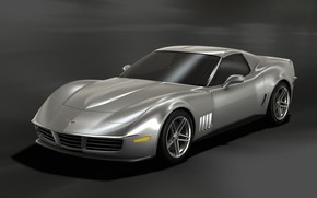 Corvette Retro Stingray Silver Front And Side 2009 wallpaper