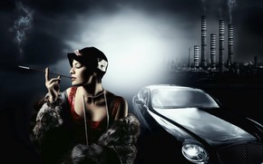Maldoror Woman and Car wallpaper