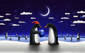 Happy Penguins in the Night wallpaper
