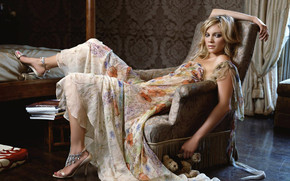 Amy Smart on Armchair wallpaper