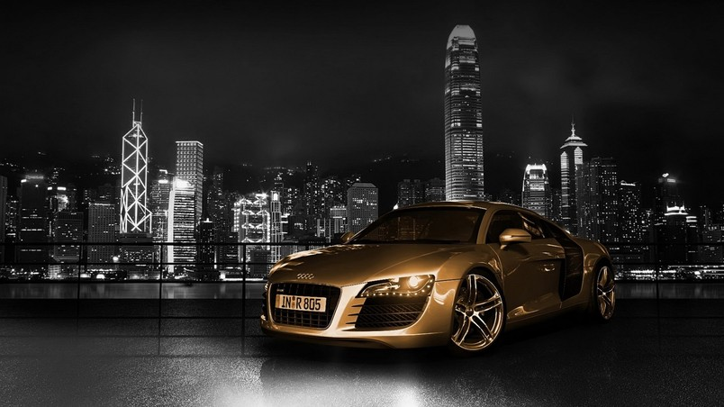 Bichrome Audi R8 front angle wallpaper