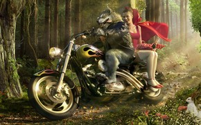 Wolf Biker and Little Red Riding Hood wallpaper