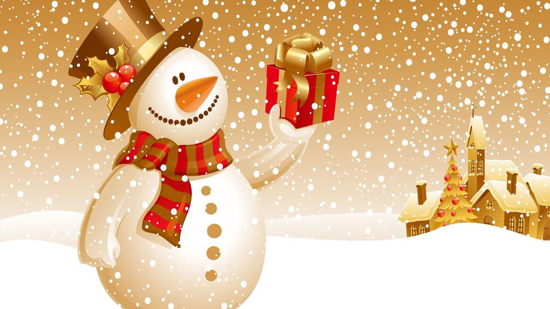 Christmas Snowman Vector wallpaper