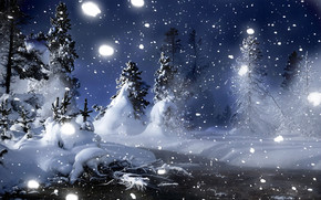 Winter Night in Park wallpaper