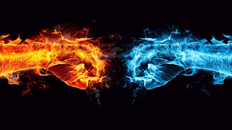 Fire and Ice Conflict wallpaper