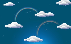 Rainbow and Clouds wallpaper