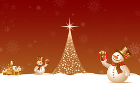 Snowman Close to Christmas Tree wallpaper