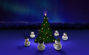 Snowman Around Christmas Tree wallpaper