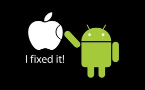 Fixed Apple by Android wallpaper