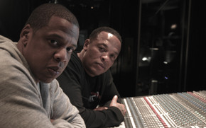 Jaz-Z and Dr Dre in Studio wallpaper
