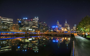 Melbourne Night Landscape wallpaper