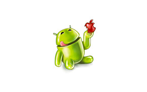 Android Eating Apple wallpaper