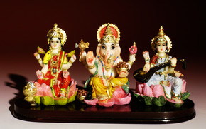Saraswati Lord Ganesh and Laxmi wallpaper