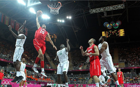 Salah Mejri of Tunisia dunks against Nigeria wallpaper