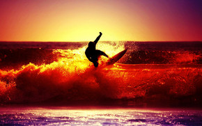Sunset Surfing wallpaper