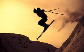 Sunset Skiing wallpaper