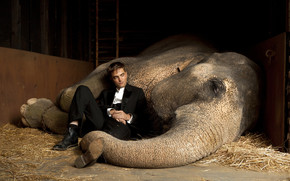 Robert Pattinson Close to Elephant wallpaper