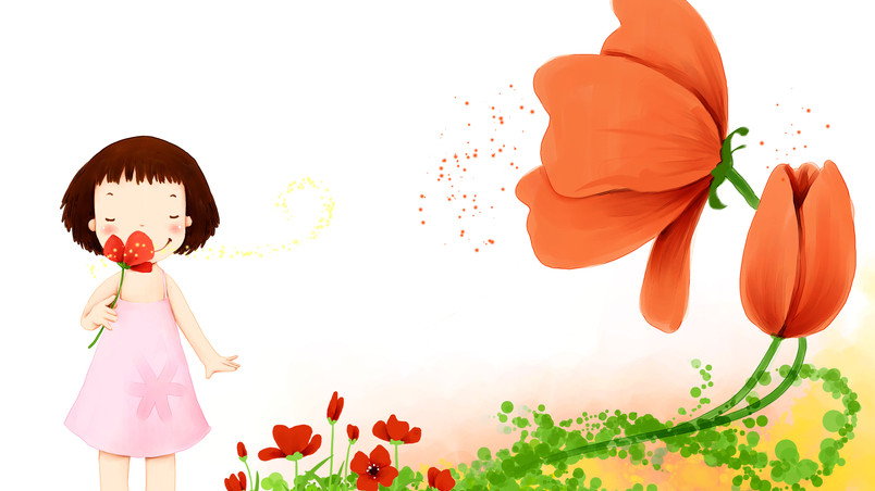 Little Girl with Flowers wallpaper