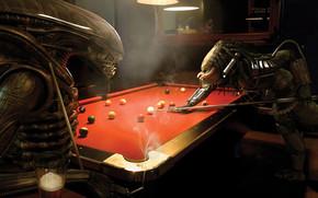 Alien and Predator Playing Billiards