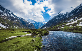 River and Mountains Landscape wallpaper