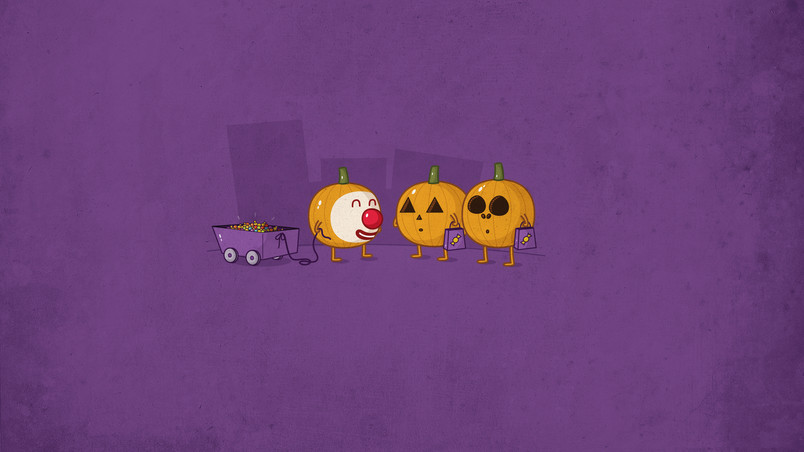 Funny Pumpkin People wallpaper