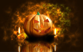 Pumpkin and Candles wallpaper