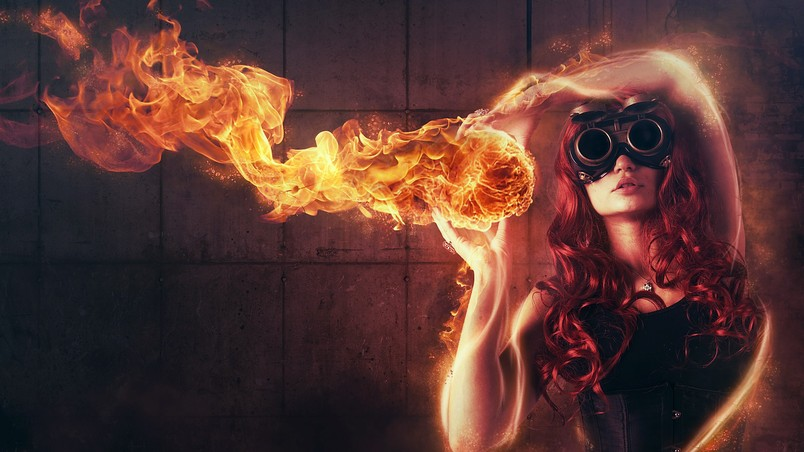 Woman Playing with Fire wallpaper