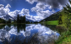 Clouds Lake Reflection