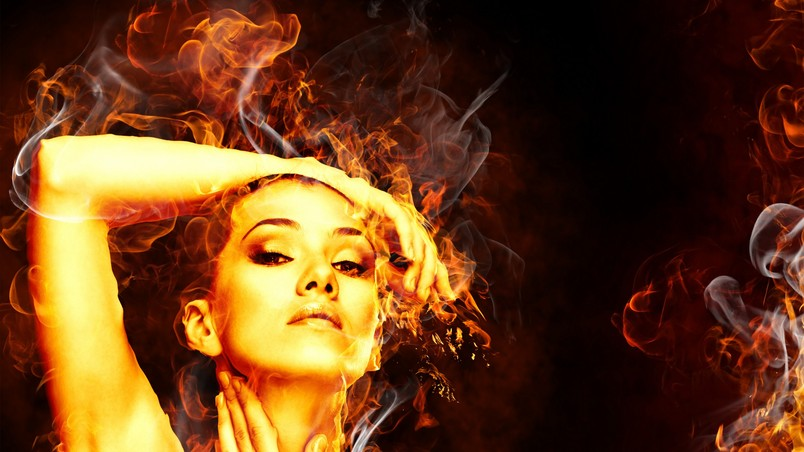 Fire Woman Hd Wallpaper Wallpaperfx