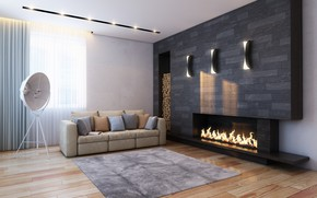 Living Room Fireplace wallpaper