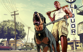 Franklin with his Dog GTA 5 wallpaper