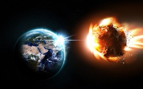 Earth and Asteroid wallpaper