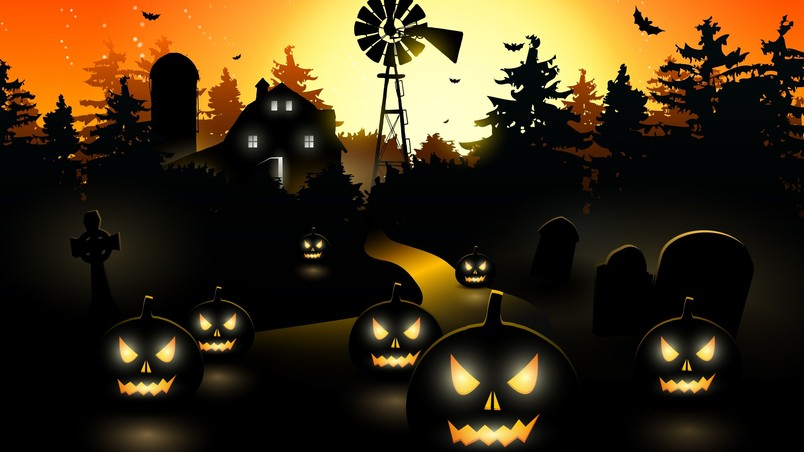 Halloween Pumpkin Wallpaper Hd.Halloween Black Pumpkins Hd Wallpaper Wallpaperfx