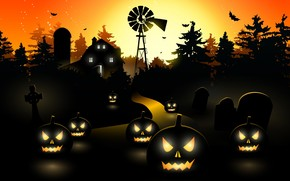 Halloween Black Pumpkins wallpaper