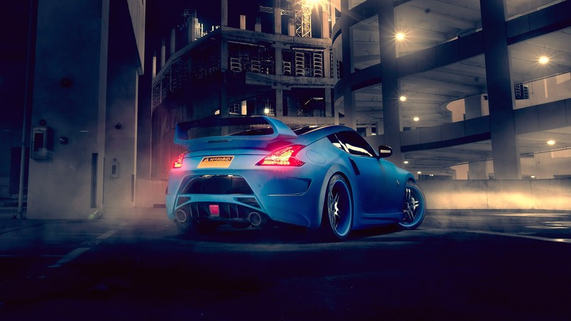 Blue Nissan 370z Rear Hd Wallpaper Wallpaperfx