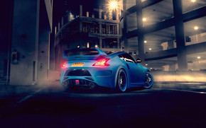 Blue Nissan 370Z Rear wallpaper