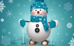 Snowman Ready to Ski wallpaper