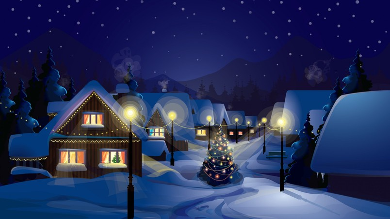 Winter Over the Village wallpaper