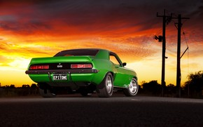 Old Green Chevrolet Camaro wallpaper