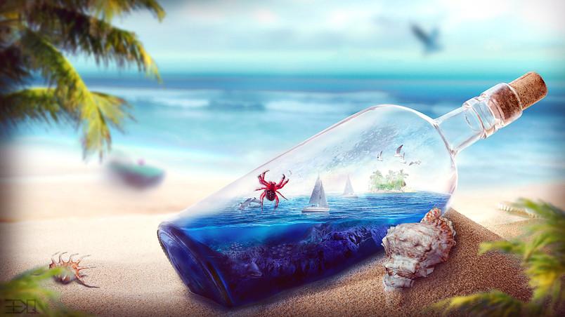 Ocean In A Bottle Hd Wallpaper Wallpaperfx
