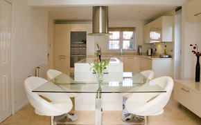 White Kitchen and Dining Area wallpaper