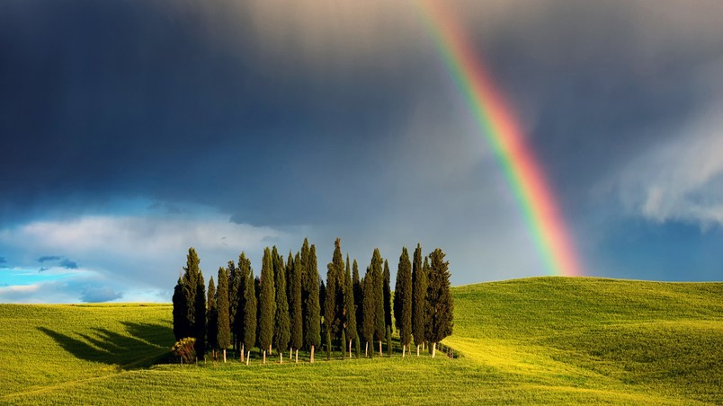 Rainbow in Tuscany wallpaper