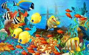 Fish World Painting wallpaper