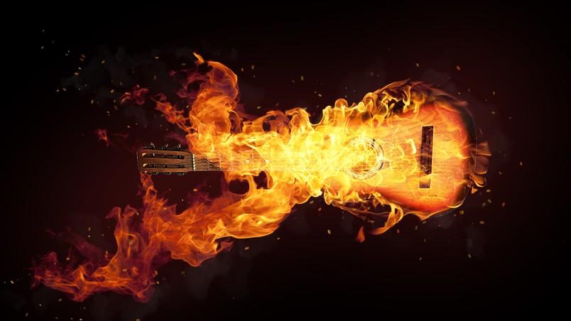 Flaming Guitars Digital Art Hd Wallpaper: Fire Guitar Art HD Wallpaper