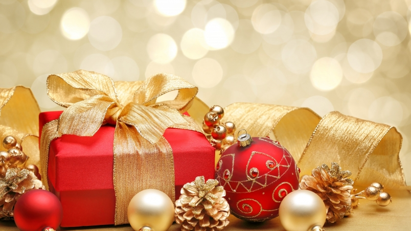 Christmas Gift Box And Decorations Hd Wallpaper Wallpaperfx